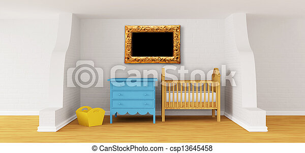 Baby bedroom with a crib.  - csp13645458