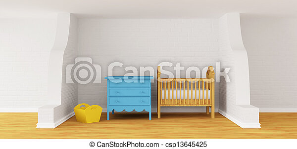 Baby bedroom with a crib.  - csp13645425