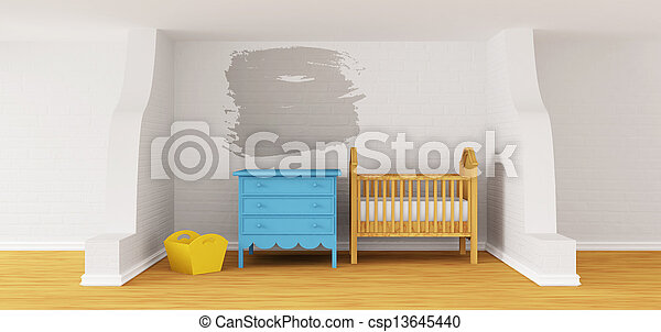 Baby bedroom with a crib.  - csp13645440