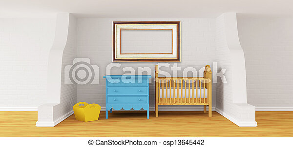 Baby bedroom with a crib.  - csp13645442