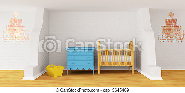 Baby bedroom with a crib. - csp13645409