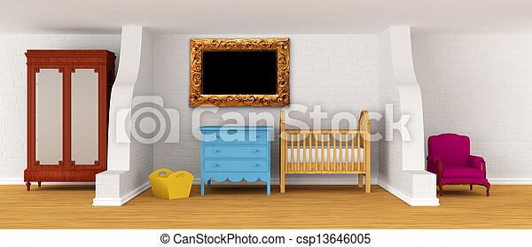 Baby bedroom with a crib. - csp13646005