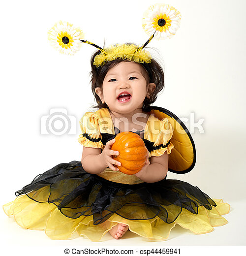 Baby Bee ready for Halloween - csp44459941  sc 1 st  Can Stock Photo & Baby bee ready for halloween. Baby wearing bee costume is ready for ...