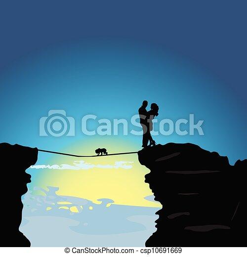 Mann und Mädchen auf dem Berg mit Baby-Illustration - csp10691669