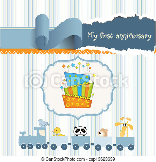 baby birthday card with cake - csp13623639