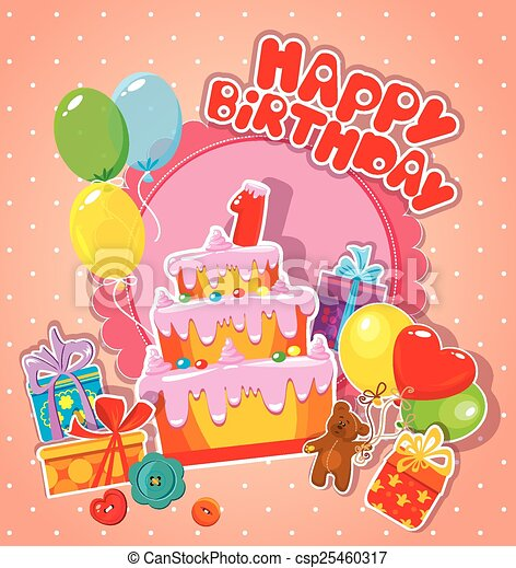 Baby birthday card with teddy bear, big cake and gift boxes. One - csp25460317