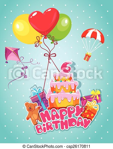 Baby birthday card with teddy bear, balloons, big cake and gift  - csp26170811