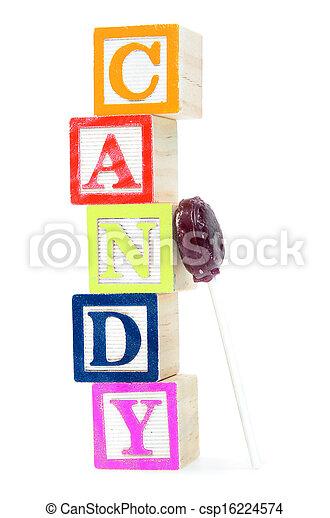 Baby blocks spelling candy - csp16224574
