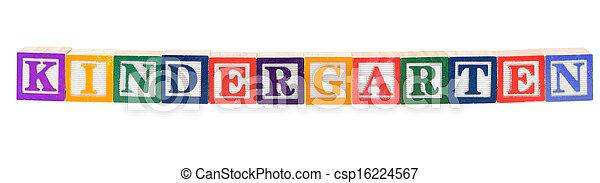 Baby blocks spelling Kindergarten - csp16224567