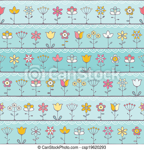 Baby blue background with cute flowers - csp19620293