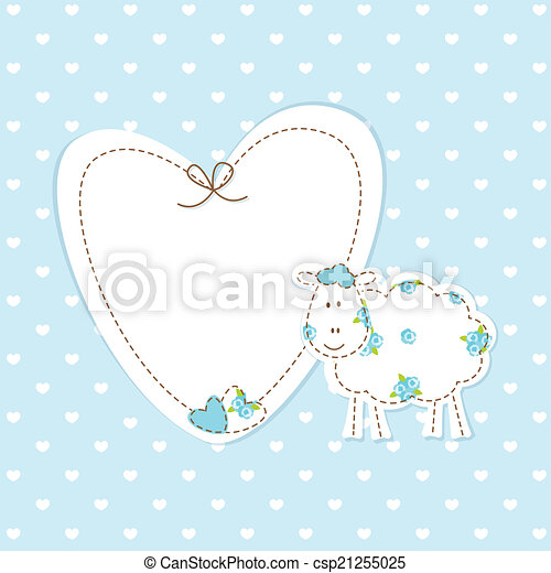 Baby blue background with sheep - csp21255025