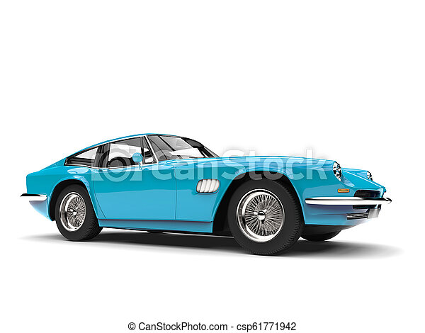 Baby blue vintage fast car - csp61771942