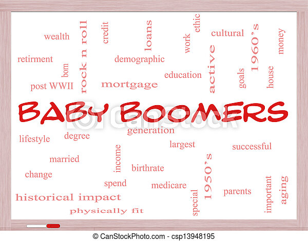 Baby boomers word cloud concept on a whiteboard with great ...