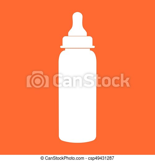 Baby bottle symbol white color icon . - csp49431287