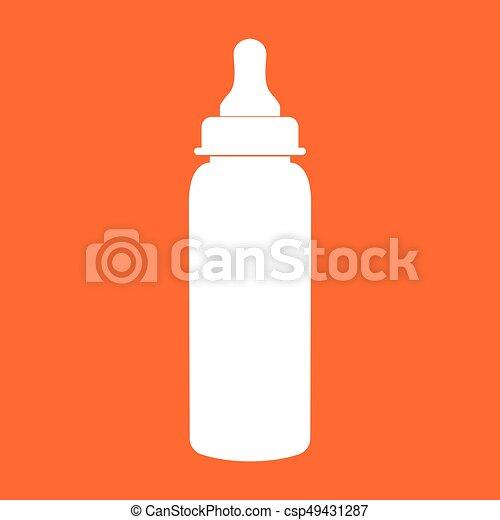 Baby bottle symbol white color icon . - csp49431287
