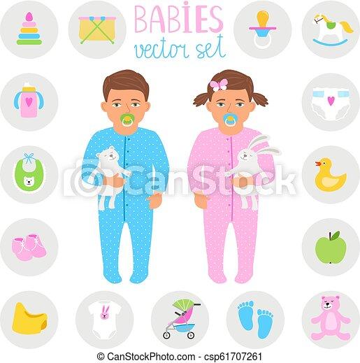 021ea9b9d11 Baby boy and girl set. Babies vector set. little infants boy and ...
