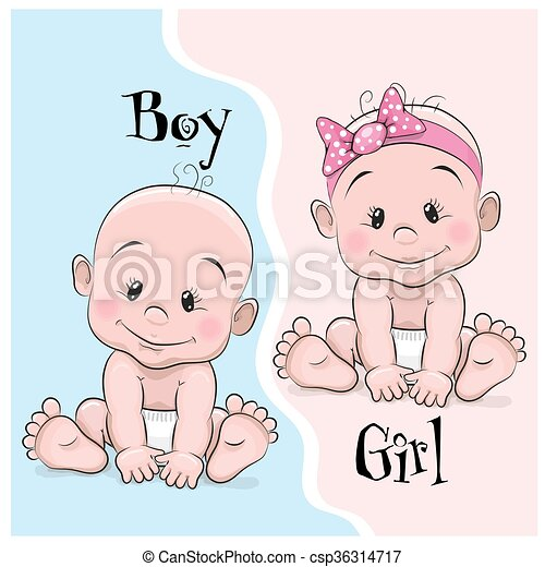 Baby Boy And Girl Two Cute Cartoon Babies Boy And Girl