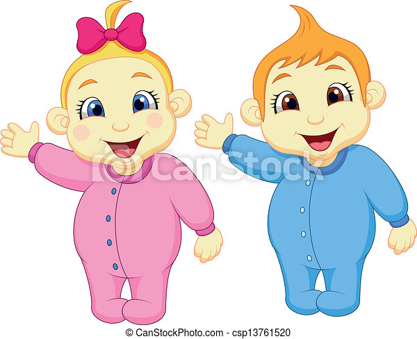 Baby Boy And Girl Waving Hand Vector Illustration Of Baby Boy And