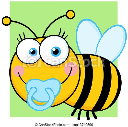 Baby Boy Bee Cartoon Character - csp13740590