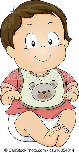 baby boy bib illustration of a baby boy wearing a bib with rh canstockphoto com big clip art in black and white bib clipart pictures