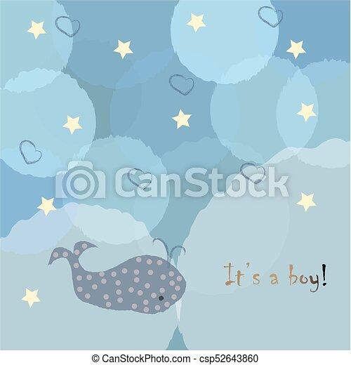 Baby Boy Birth Announcement Baby Shower Invitation Card