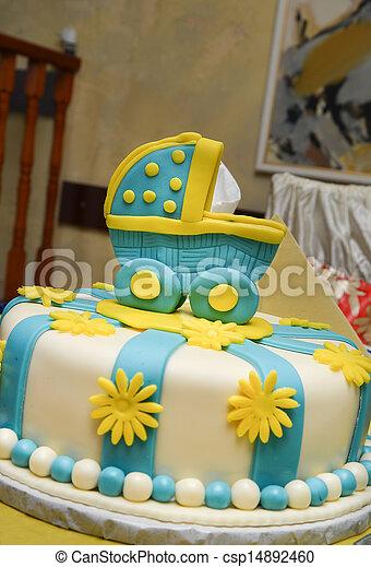 Marvelous Baby Boy Birthday Cake With Cute Carriage Funny Birthday Cards Online Inifodamsfinfo