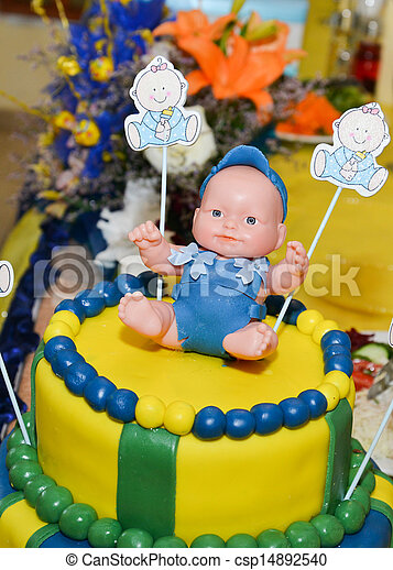 Baby boy birthday cake with cute doll stock photo Search
