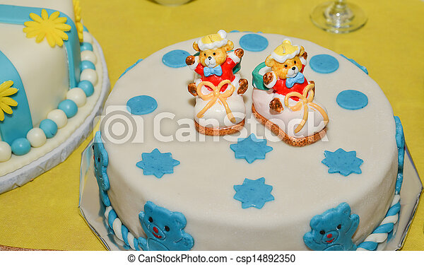 Baby boy birthday cake with cute shoes stock images Search Stock