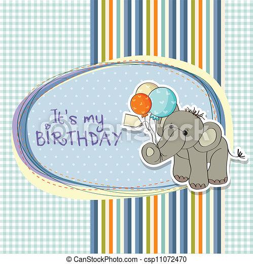 Baby boy birthday card with elephant and balloons vectors baby boy birthday card csp11072470 bookmarktalkfo Choice Image