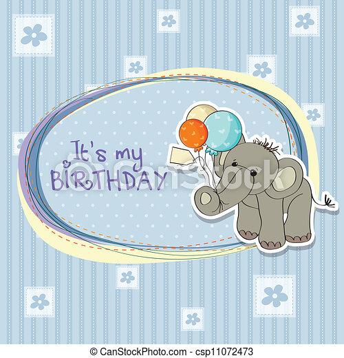 Baby boy birthday card with elephant and balloons vectors baby boy birthday card csp11072473 bookmarktalkfo Choice Image