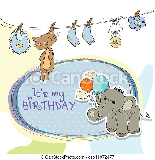 Baby Boy Birthday Card With Elephant And Balloons Vectors