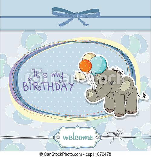 Baby boy birthday card with elephant and balloons vectors baby boy birthday card csp11072478 bookmarktalkfo Choice Image