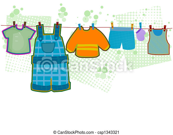 clothesline illustrations and clipart 1 679 clothesline royalty rh canstockphoto com baby clothes clothesline clipart