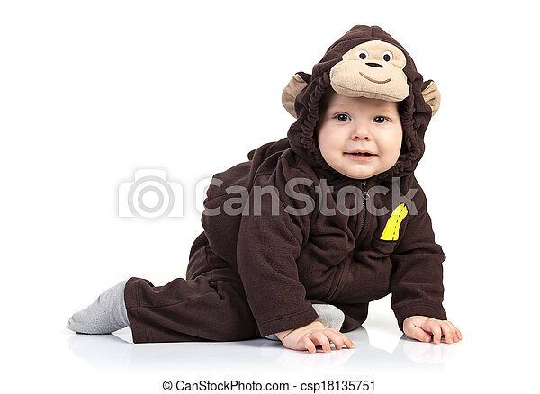 Baby boy dressed in monkey costume over white - csp18135751  sc 1 st  Can Stock Photo & Baby boy dressed in monkey costume over white background.