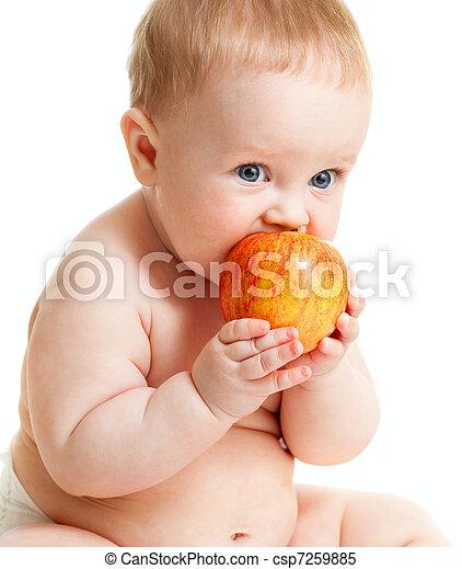 Baby boy eating healthy food - csp7259885