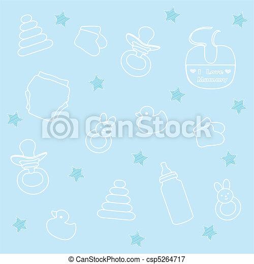 baby boy elements, blue background - csp5264717