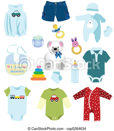 Baby boy elements, clothes - csp5264634