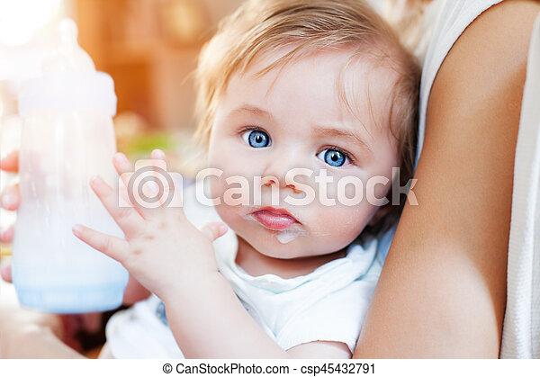 Baby boy food eyes - csp45432791