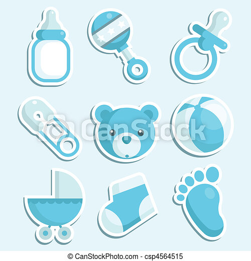 Baby Boy Icons Set Of Blue