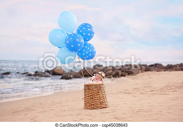 Baby Boy in a Hot Air Balloon - csp45038643