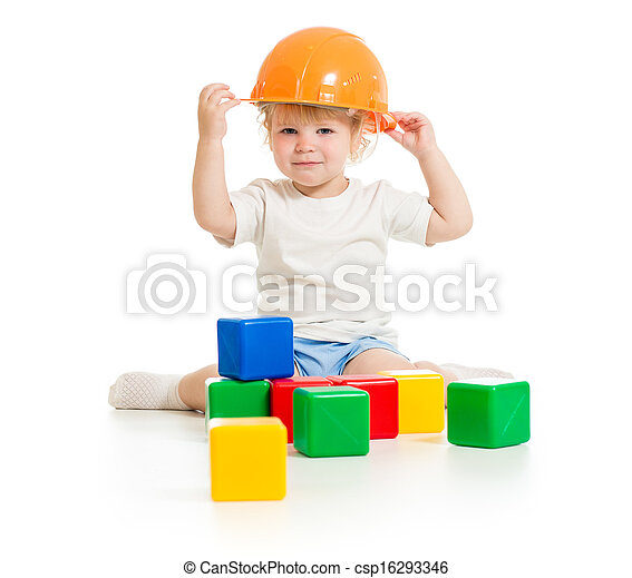 baby boy in hard hat with building blocks - csp16293346