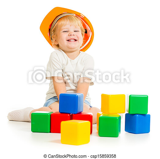 baby boy in hard hat with colorful building blocks - csp15859358
