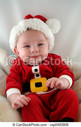 Baby Boy in Santa Claus Outfit - csp0493908