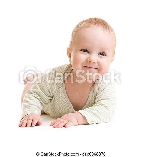 Baby boy isolated lying  smilingly - csp6368876