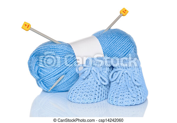 Baby boy knitted booties - csp14242060