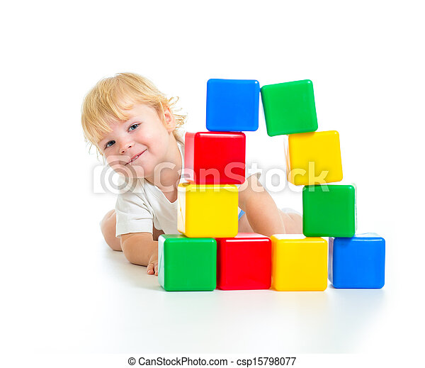 baby boy playing with building blocks - csp15798077