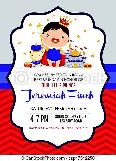 Baby boy prince birthday invitation baby boy prince birthday invitation csp47542250 filmwisefo