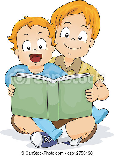 Baby Boy Reading a Book with Brother - csp12750438