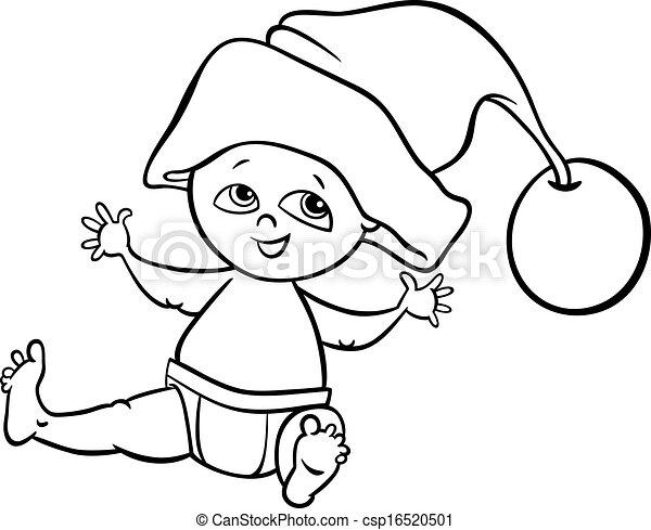 Vector Clipart Of Baby Boy Santa Cartoon Coloring Page