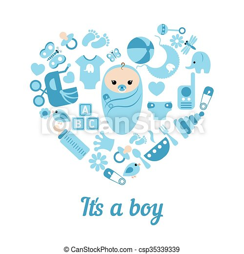 Baby Boy Shower Background Simple Baby Symbols In The Shape